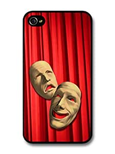 Comedy And Tragedy Masks In A Red Curtain Background Cool Design For HTC One M9 Case Cover