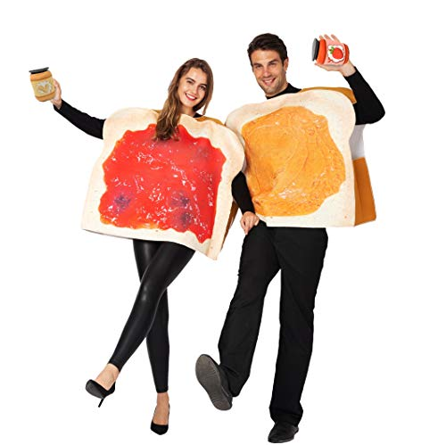 Quick Easy Halloween Costumes For Guys (Peanut Butter and Jelly PBJ Costume Adult Couple Set w/one Peanut Butter Plush and One Jelly Plush for)
