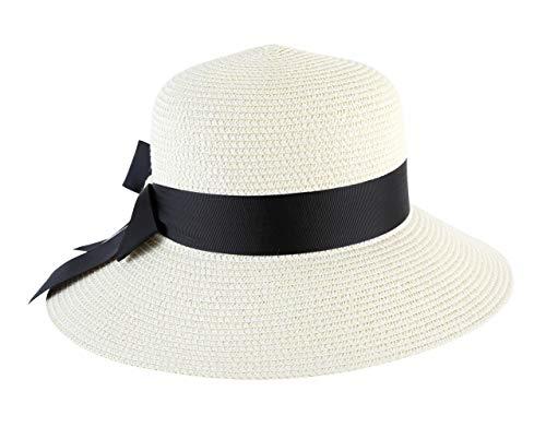 c851ab68c Lanzom Women Wide Brim Straw Foldable Roll up Cap Fedora Beach Sun Hat  UPF50+ (Style B-Ivory White)
