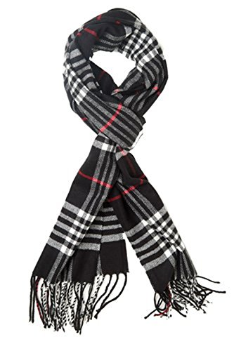 (Classic Luxurious Soft Cashmere Feel Unisex Winter Scarf in Checks and Plaid (Black Plaid) )