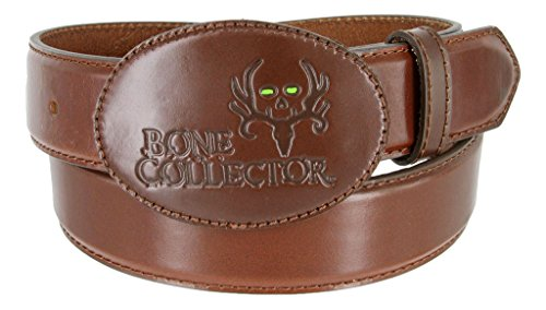 Bone Collector Leather Covered Buckle Casual Leather Belt (Brown, 44) - Leather Covered Buckle Belt