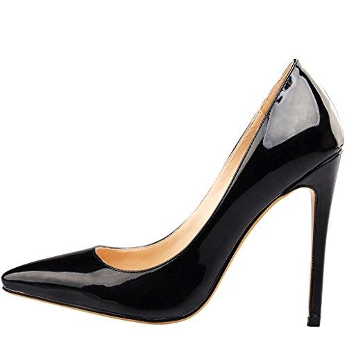 Calaier Womens Cawait Designer Party Abito Da Sposa Di Lusso Plus Size Comfortale Tacco Alto Da Donna Scarpe A Punta 10,5 Cm Stiletto Slip On Pumps Shoes Nero C
