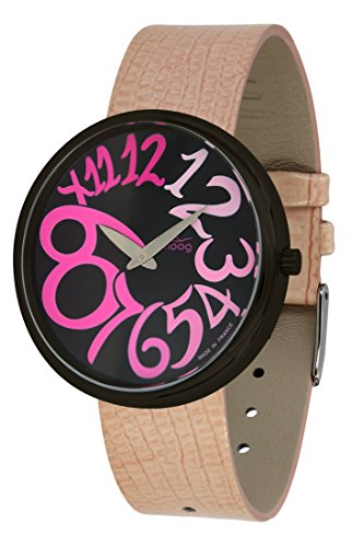Moog Paris Ronde Art-Deco Women's Watch with Black Dial, Pink Strap in Genuine Leather - M41671-G22