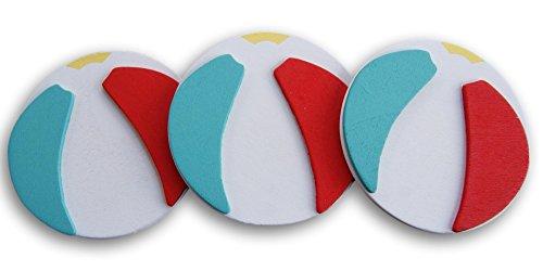 Natural Wood Painted Beach Ball Cutouts - Set of 3-3 inch Diameter
