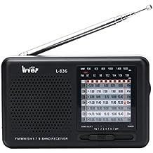 Portable Shortwave Radio, Emergency Radio with 3.5 mm Headphone Jack, FM / MW / SW Multiband Pocket Size Travel Radio, Best Gifts for Parents – by Lvver (Black)