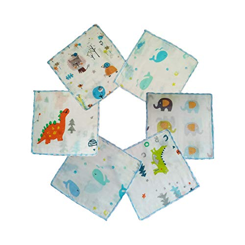 Omilion 6 Pack Baby Washcloths, Natural Muslin Cotton Newborn Baby Face Towel Perfect Shower Gifts Set, 9x9 Inches, Animal Party
