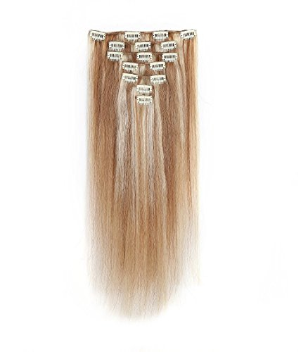 [Rosette Hair 18 Inch Straight Clip In Full Head Human Hair Extensions Weave Unprocessed Hair Weft 7pcs] (Indian Costume No Sew)