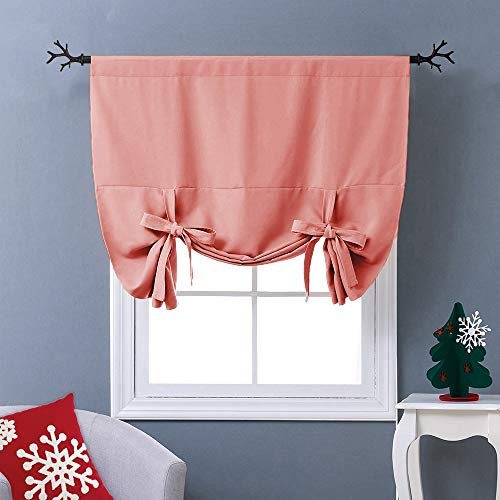 NICETOWN Coral Tie-Up Shade Curtain - Window Treatment Balloon Valance Drape for Kitchen Window (Rod Pocket Panel, 46 inches W x 63 inches L) (Best Window Coverings For Kitchen)