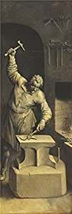 'Saint Eligius in His Workshop by Ambrosius Francken I' oil painting, 24x71 inch / 61x181 cm ,printed on high quality polyster Canvas ,this Cheap but High quality Art Decorative Art Decorative Prints on Canvas is perfectly suitalbe for Powder Room artwork and Home artwork and Gifts