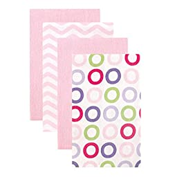 Luvable Friends Flannel Burp Cloths, Pink Circles