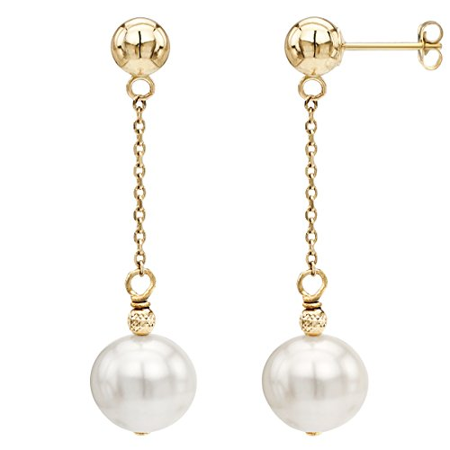 14K Yellow Gold Ball Stud White Freshwater Cultured Pearl Dangle Earrings Set for Women 8-8.5mm Bridal Jewelry