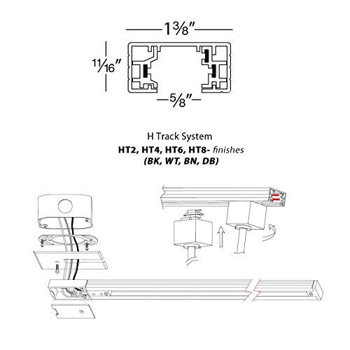 wac lighting ht8-db 120v 8 foot h track with mounting hardware, single  circuit