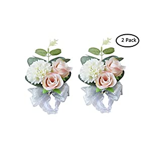 MOJUN Wedding Bridal Bridesmaid Wrist Flower Corsage Wedding Planner Wrist Corsage Hand Flower, Pack of 2 112