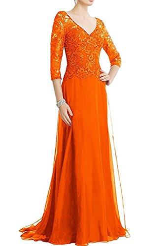 Brautmutterkleider Partykleider Abendkleider Spitze Damen La Orange Ballkleider Marie Langarm Braut nxSB8SW0qX