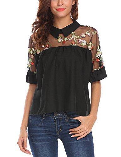 SE MIU Women Summer Short Sleeve Sheer Neck Loose Tunic Blouse T Shirt, Black, M (Ruffle Sheer Shirt)