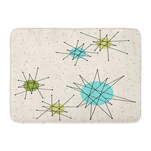Football Atomic (dolphin Ty Bath Mat Mid Iconic Atomic Starbursts Century Modern Sputnik Palm Bathroom Decor Rug)