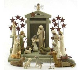 Willow Tree Complete 22 Piece Nativity Set By Susan Lordi with Go Green! Compressed Bamboo Towels