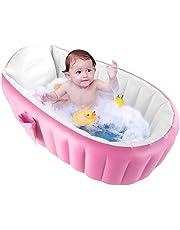 DaMohony Bañera Inflable para Bebé Plegable Mini Piscina de Aire Portátil Lavabo para Ducha de Bebé para Niños. (Rosado)