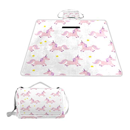OuLian Unicorns Picnic Blanket Mat, Waterproof Foldable Play Mats for Kids, Babies, Families - Protective Beach Blankets for Park, Camping, Yard, Lawn, Sand ()