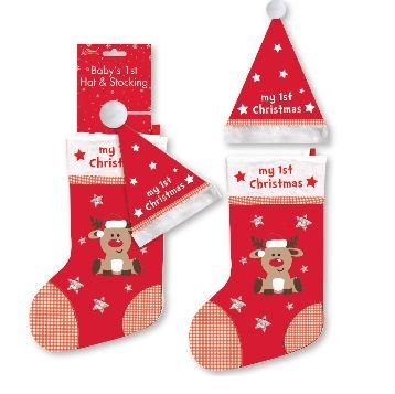 7f275c204e7db  My First Christmas  Stocking and Hat Set. Baby s First Christmas   Amazon.co.uk  Kitchen   Home