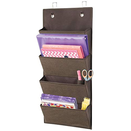 (mDesign Soft Fabric Wall Mount/Over Door Hanging Storage Organizer - 4 Large Cascading Pockets - Holds Office Supplies, Planners, File Folders, Notebooks - Textured Print - Espresso)