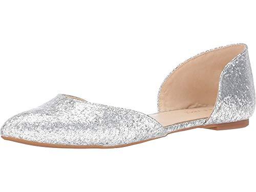 Nine West Women's Starship Patent Ballet Flat, Silver Specchio, 7.5 M US (Woman Shoes Flat Nine West)