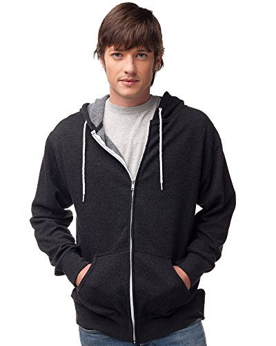 (Global Blank Slim Fit Lightweight Zip Up Hoodie for Men and Women L Charcoal Gray)