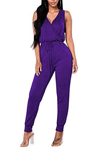 - TYFeng Women's Sleeveless Romper V Neck Long Casual Jumpsuits Playsuits Outfits with Belt (Purple, XL)