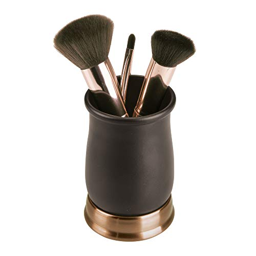 Amazon.com: mDesign Metal Bath Accessory Set, Soap Dispenser, Toothbrush Holder, Tumbler - 3 Pieces, Two-Tone Bronze: Home & Kitchen
