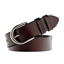 JasGood Leather belts for Women Brown 1.2 Inch Wide Designer Belts for Jeans and Dress with Pin Buckle