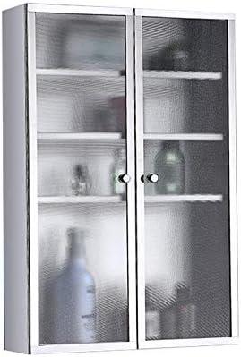 ミラーキャビネット ホームキッチンバスルームランドリー医学キャビネット用ステンレス鋼の壁掛け収納キャビネットに最適 (Color : Silver, Size : 40x60x20CM)