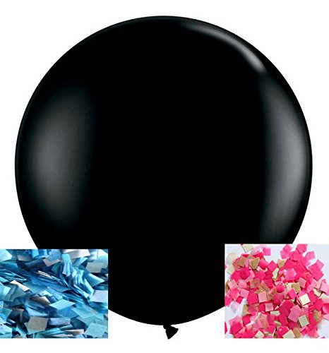 (FONBALLOON PARTY 2PCS Giant 36'' Black Round Gender Reveal Balloon Pop with Pink and Blue Confetti for a Baby)