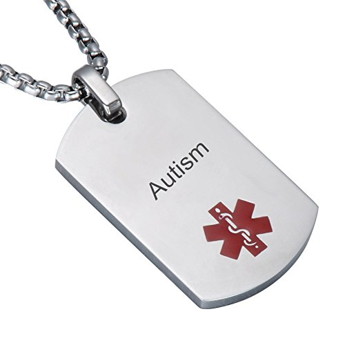 Comfybuy CF Free Engraving Blank Stainless Steel Medical Alert Disease Awareness Identification Necklace Military Dog Tag Pendant,Emergency SOS Daily Life Saver for Kids,Grandpa,Grandma,Parents ()