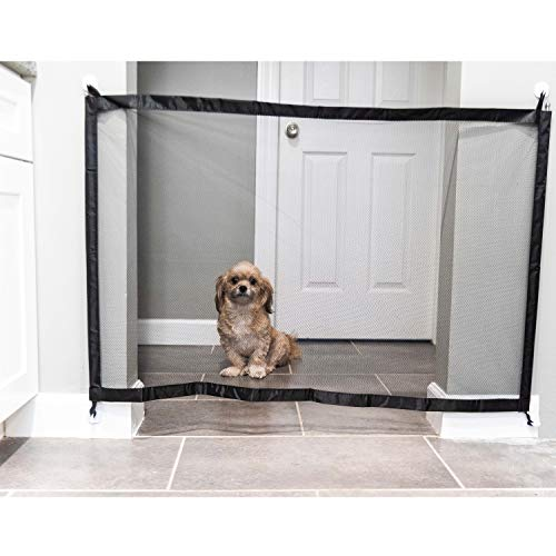 Dog Mesh Gate: Retractable Safety Gates for Pet Dogs and Walk Through Baby Gate. Extra Wide Fabric Doorway Barrier for…