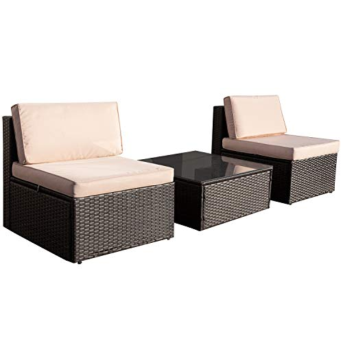 VICTONE 3 Pieces Patio Furniture Sets All-Weather Sectional Sofa Wicker Rattan Patio Conversation Set with Cushion and Glass Table (Beige)