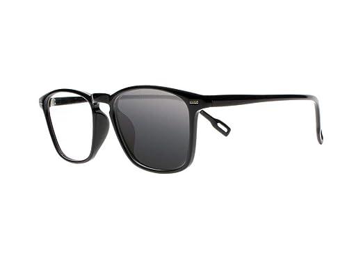 196babc6a9e6 Progressive Multifocal Transition Photochromic TR90 Square Nerd Geek Reading  Glasses Sunglasses (Black, 1.00)