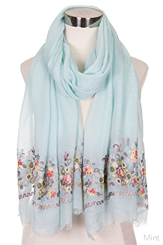 ScarvesMe Women's Floral Embroidered Accent Oblong Scarf (LOF491 MINT) by ScarvesMe