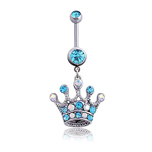 Belly Button Rings Dangle Crown Sexy Navel Piercing Jewellry Rings Surgical Steel 14G 3/8