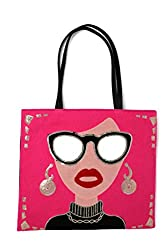 Sequin PU Leather Tote Bag with Funky Lady Face