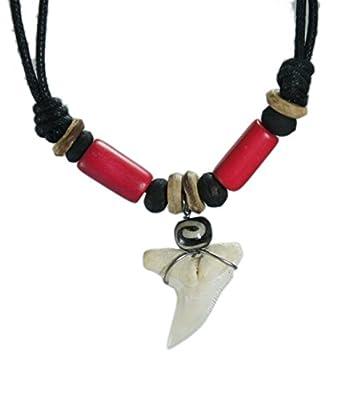 Exoticdream Real Shark Tooth Necklace Surfer Hawaiian Beach Boys Girls Men - Color Beads