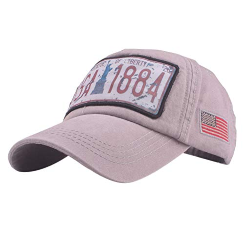 - Seamoun Embroidered American Flag Adjustable Denim Baseball Cap (Gray)