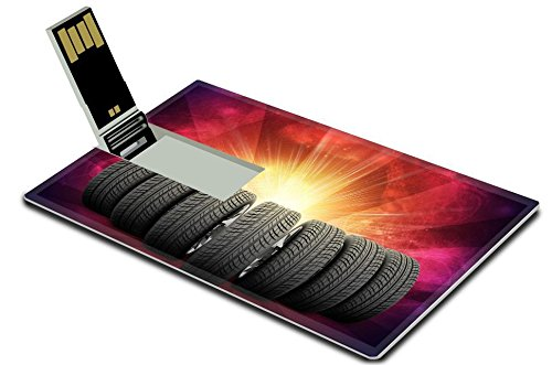 Luxlady 32GB USB Flash Drive 2.0 Memory Stick Credit Card Size Wedge of new car wheels Abstract red background is galaxy stripes at bottom IMAGE (Drive Red Wedges)