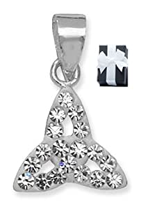 Impresionante plata esterlina de la trinidad en cristal blanco colgante de 45,72 cm de plata de ley con cadena de eslabones