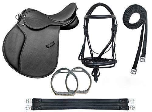 TackRus Horse English Leather Pony Saddle 10 Pcs Riding Saddle Gift Set Black 803SDBK.