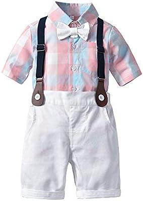 Bebés 2Pcs Trajes De Bautizo Camisa Bowtie Top + Tirantes Shorts ...