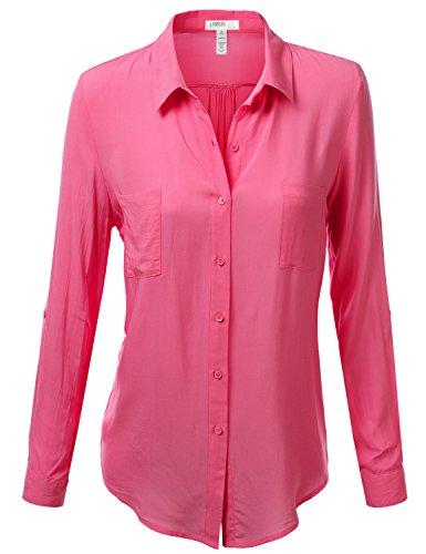 J.TOMSON Womens Long Sleeve Button Down Blouse FUCHSIA SMALL