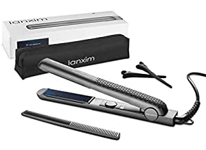 Lanxim Ceramic Tourmaline Flat Iron Hair Straightener with Travel Bag, 1 Inch Floating Plates, Gray