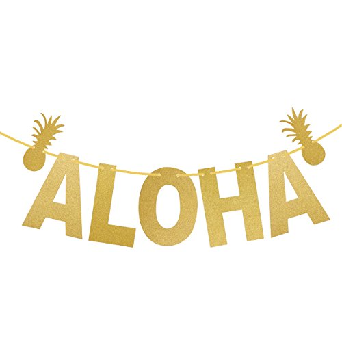LUOEM Hawaiian ALOHA Banner Garland Long Pineapple Glitter Pendant Luau Theme Party Signs Decoration (Gold)]()