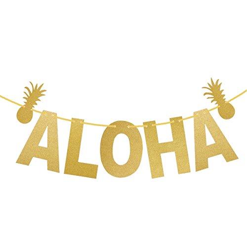 LUOEM Hawaiian ALOHA Banner Garland Long Pineapple Glitter Pendant Luau Theme Party Signs Decoration - Aloha Banner