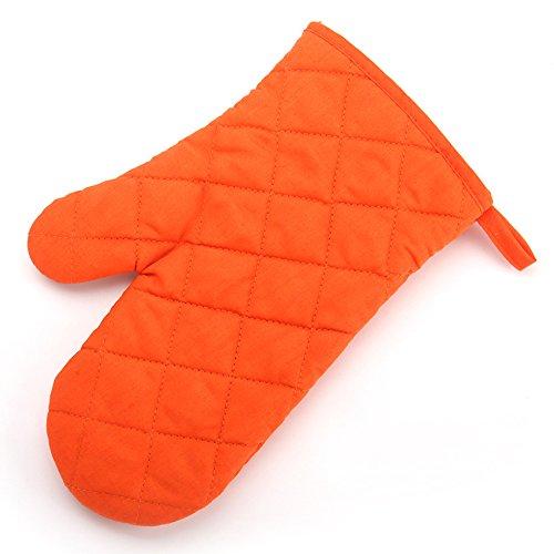 (Colorido Kitchen Cooking Cotton Heatproof Resistant Protector Pot Glove Oven Mitt (Orange) )